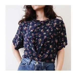 Vintage 90s Silk Blooms Short Sleeve Top Navy